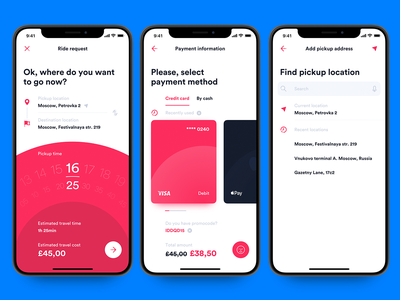 Ride request complete form – iOS UI kit red credit ride app taxi infectedcell ux ui creative drum ios