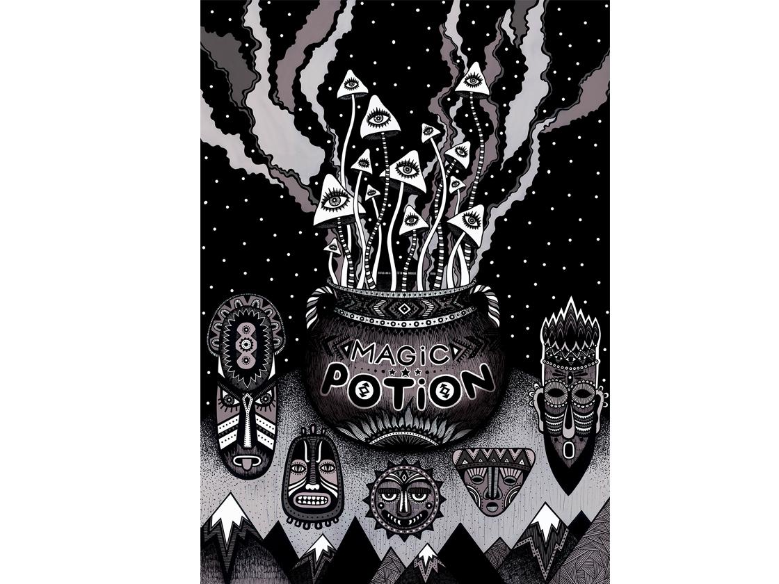 Magic Potion mushrooms eye masks cauldron graphics black and white ethnics sky stars magic potion