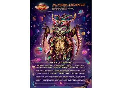 """Poster for the festival of electronic music """"New Planet"""