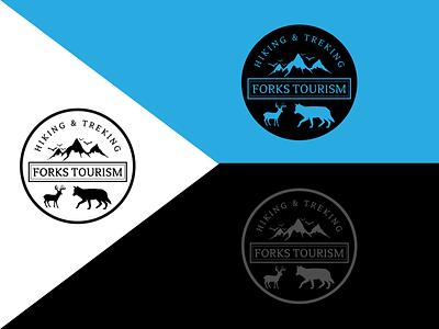 Forks Tourism logo art typography vintage logo branding logo design illustration flat design
