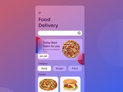 Glassmorphism Food App UI food app food delivery app newtrend2021 xd adobexd uiux gradient minimal ui glassmorphism food app ui glassmorphism