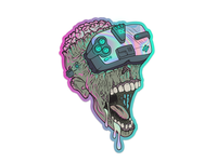 Zombie Cyberpunk Style Holographic Sticker illustration artwork augmented reality artificial intelligence holographic hologram sticker vector virtual reality vr cyberpunk zombie
