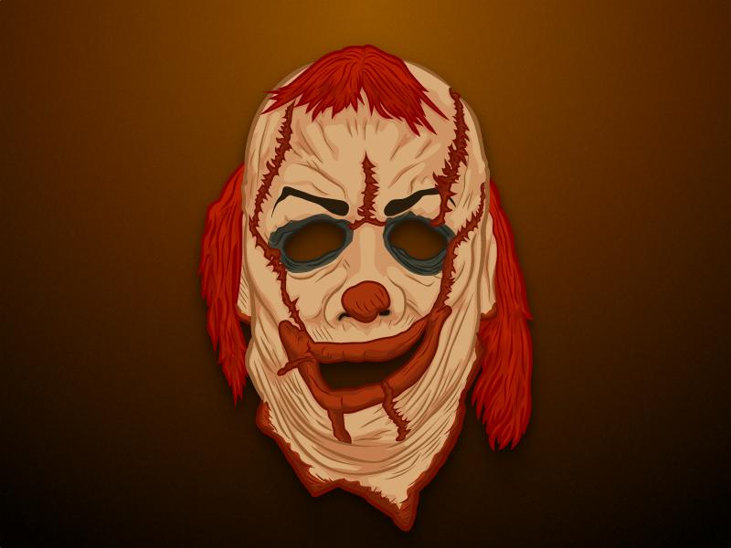 Scary Clown Mask clown mask horror artwork vector illustration ios pimpapic sticker zombie clown halloween