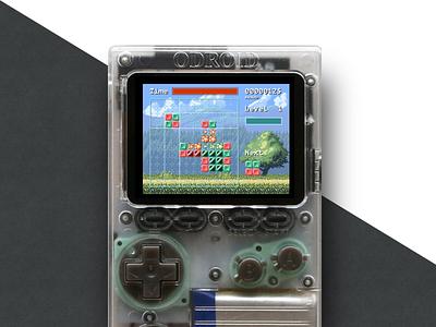 Genus Game Screen on Device gems block original classic game video game pixel art pixel genus