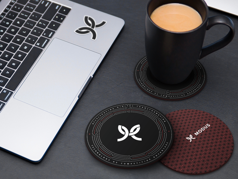 Modus Coaster swag logo black and red black  white coffee coaster modus