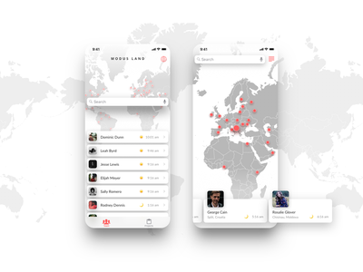 Modus Land App people list iphone collaboration distributed digital nomad ios remote work remote team map ui app mobile app mobile