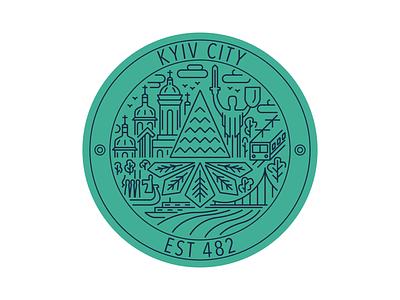 Weekly Warm-Up: Kyiv Sticker line work line art minimal vector artwork logo line ukraine sticker kyiv illustration