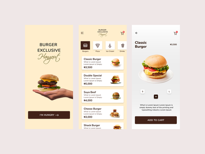Exclusive Burger Hangout ux typography illustration first design branding illustraion icon ui design app