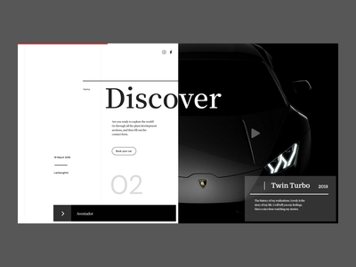 Discover New Cars Landing Page website web ui typography minimal icon design branding