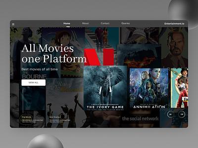 Movie Landing Page illustrator website web ux ui typography minimal design