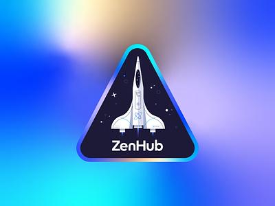 To the moon! rocket zenhub sticker illustration