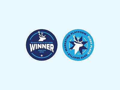 Winner Winner badge caribou sticker design illustration