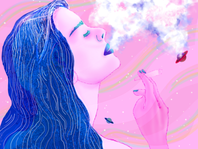 Mary Jane Takes a Trip female illustration colorful adobe smoking illustration marijuana female portrait illustration trippy space female female illustrator digital art girl digital painting digital illustration adobefresco