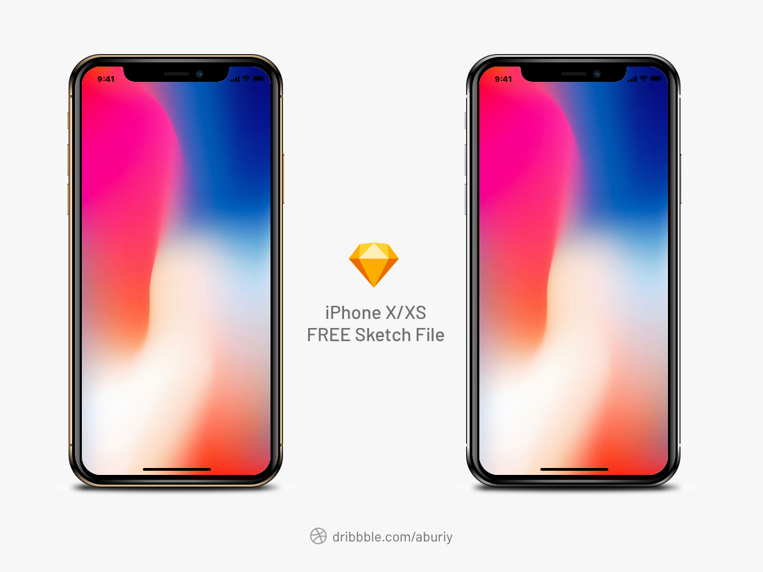 Free iPhone X/XS Realistic Mockup Sketch mobile ux ui iphone iphone x mockup sketch free download iphone xs