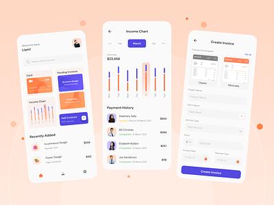 Invoice Creator Mobile Apps app uiuxdesigner card bussines invoice bills chart mobile app mobile ui ui design ui orange uiux ui design