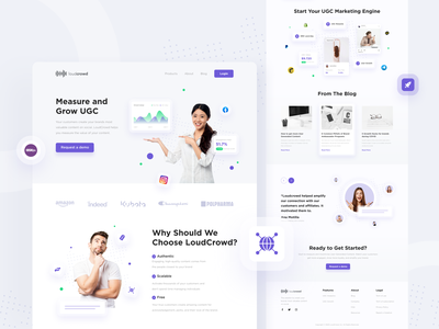 LoudCrowd Landing Page Redesign ugc landing page ui purple ui white clean design ui clean website design website ui design landing page ui landing page ui uiux