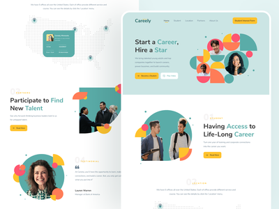 Careely - Career Builder Landing Page careerbuilder careers page website design website landing page design landing page career landing page bussines uiux ui design ui