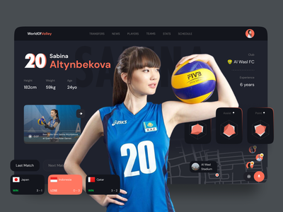World Of Volley - Sport Dashboard sports design sports dark theme dark dashboard dark ui dark dark mode volley dashboard volleyball sport dashboard dashboard ui dashboard design chart card uiux ui design ui