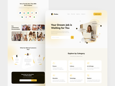 Findou - Job Finder Landing Page uidesign ui yellow job finder job finder landing page clean design landing page bussines design card uiux ui design ui