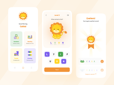 Kids Education Mobile Apps animal cute illustration illustration kids illustration kids game game eduaction education app kids education kids app kids clean ui mobile app clean design app mobile ui card uiux ui design ui