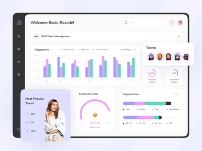 Magio - Talent Management Dashboard socialmedia creative agency agency talents engagement dashboard ui clean ui clean design bussines chart design card uiux ui design ui