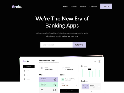 Finnia - Finance Landing Page web design emoney money finance chart card ui ui design finance landing page landing page website