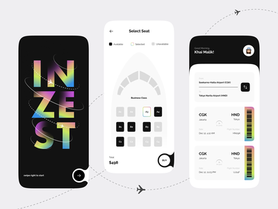 Inzest - Ticket Booking Mobile Apps mobile apps mobile app card uiux ui design ui travel ticket booking booking tickets plane ticket