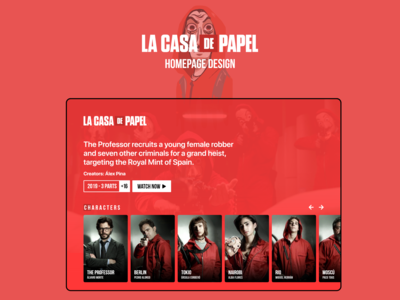 La casa de papel series Homepage Design