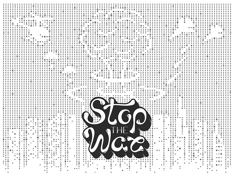 Stop The War! point planet our lettering grunge greenpeace graphic stop war flat earth cartoon