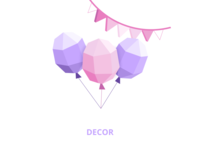 Low poly illustration - event balloons