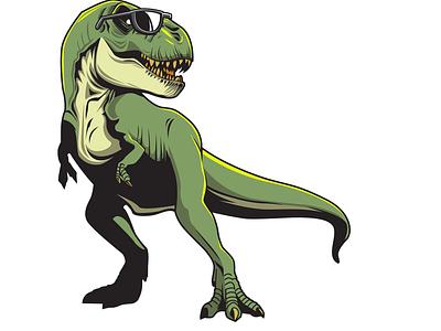 Illustration of tyrannosaurus using wearglasses cretaceous jurassic triassic dinosaurs tyrannosaurus vector artwork tshirt design illustration