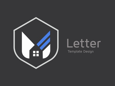 Alphabet M design, real estate vector advertising