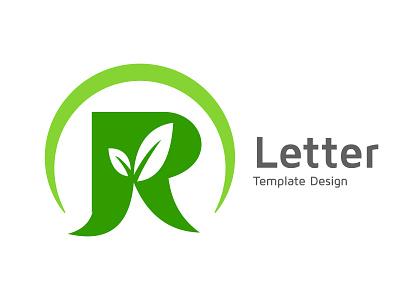 Alphabet R image, leaf inside R template design advertising