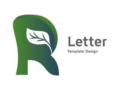 Alphabet R image, leaf icon design template advertising