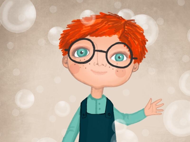 Bubbles illustration drawing digital illustration for children bubbles boy child procreate character