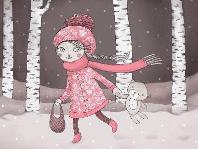 In the forest illustration drawing illustration for children forest birch bear trees character girl procreate fairy