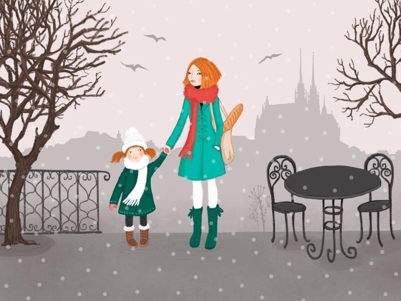 Brno illustration drawing brno city winter girl panorama snow birds trees procreate