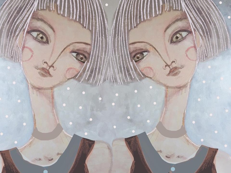 Sisters illustration drawing painting girls sisters twins acrylic digital character