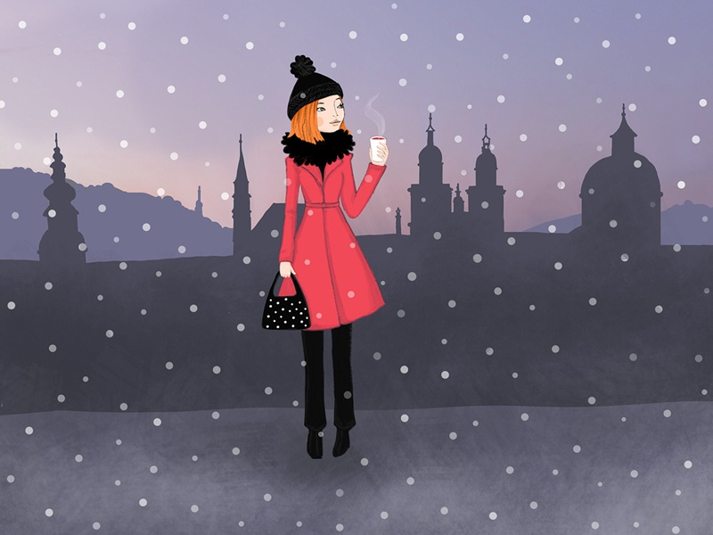Salzburg illustration drawing girl salzburg winter snow city digital