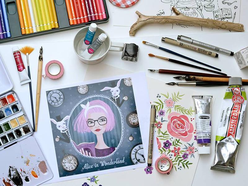 Alice in Wonderland illustration drawing girl alice in wonderland rabbit pen brush liner aquarel watercolor flowers