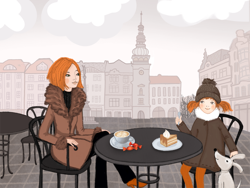 Ostrava  ostrava czech illustration drawing girl dog city coffee