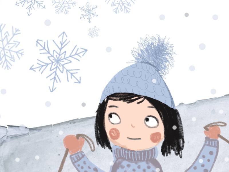 Snow illustation drawing snow ski snow flake winter girl