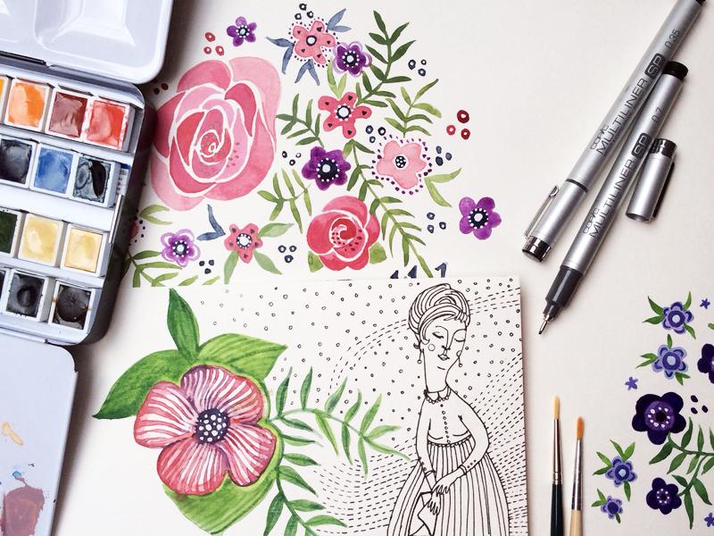 on my table illustration drawing ink pen multiliner brush watercolor aquarel