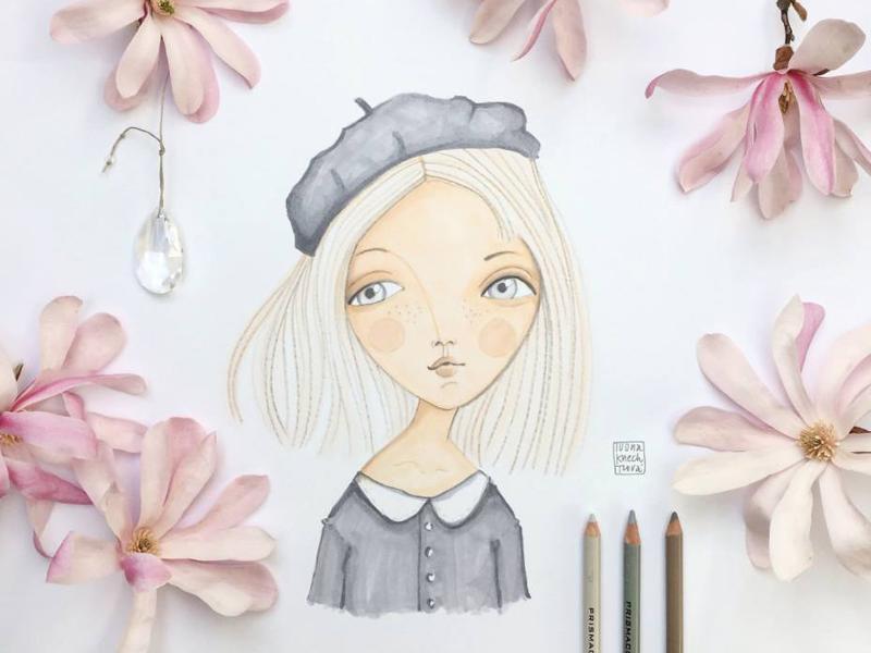Magnolia girl flower colored pencil pencil drawing magnolia