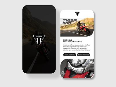 Triumph Mobile App UI Design motorbike motorcycle appdesign motorcycleapp bikeapp triumph motorcycle triumph branding ui  ux dailyui userinterfacedesign uiuxdesigner uiux design adobephotoshop uiuxdesign uiux adobexd