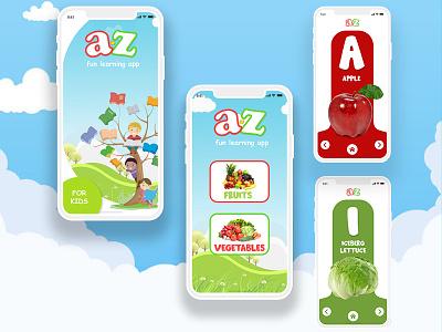 a-z fun learning app for kids userinterfacedesign uiuxdesigner uiux design kidsapp kids learningalpabhets appdesign learningapp kidslearning adobephotoshop uiuxdesign uiux adobexd