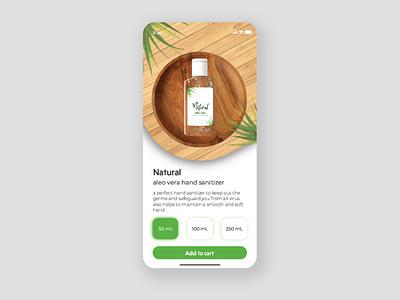 Natural Aloe Vera Hand Sanitizer Shopping page branding ui  ux dailyui userinterfacedesign uiuxdesigner uiux design adobephotoshop uiuxdesign uiux adobexd