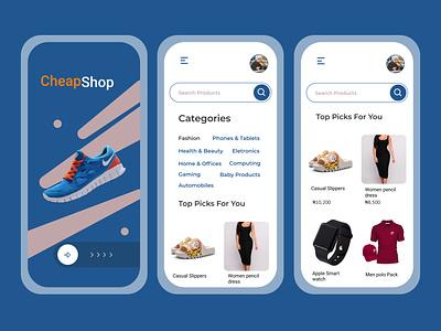 CheapShop ux app design ui fashion app fashion shopping app shopping shop