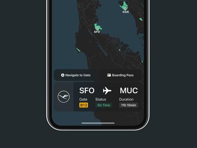 Flight App münchen uiux ux ui boardingpass flight app dark mode