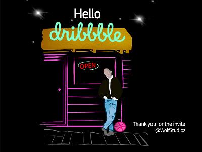 Hello Dribbble! debut illustration design hello dribbble